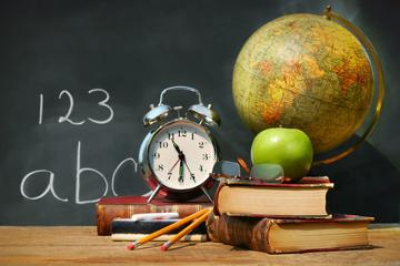 Picture of chalk board, globe, clock, books, pencils and and apple